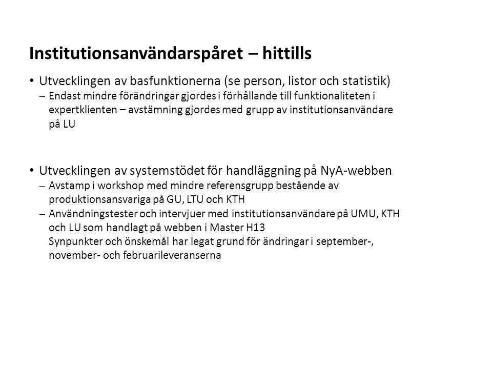 Sv Utvecklingen av basfunktionerna (se person, listor och statistik)  Endast mindre förändringar gjordes i förhållande till funktionaliteten i expert