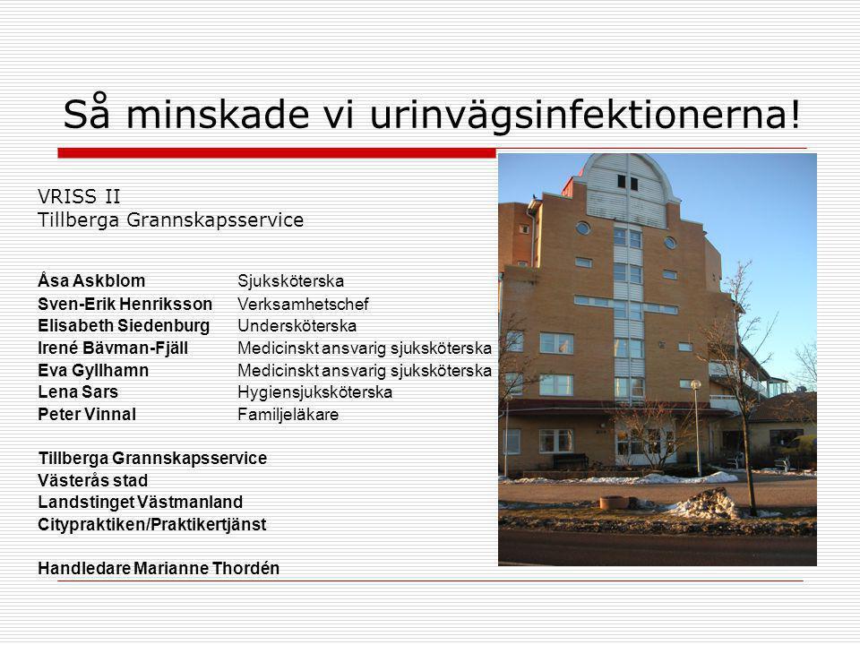Så minskade vi urinvägsinfektionerna! VRISS II Tillberga Grannskapsservice Åsa Askblom Sjuksköterska Sven-Erik Henriksson Verksamhetschef Elisabeth Si