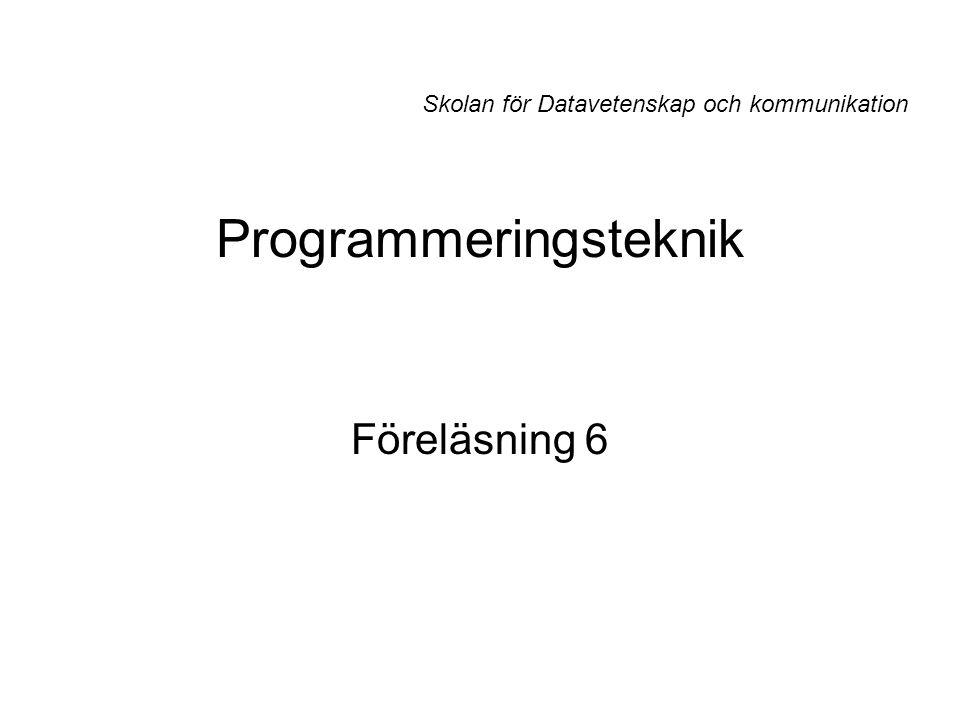 Programmeringsteknik Föreläsning 6 Skolan för Datavetenskap och kommunikation