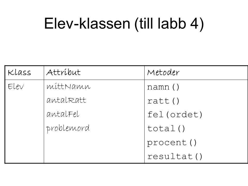 KlassAttributMetoder ElevmittNamn antalRatt antalFel problemord namn() ratt() fel(ordet) total() procent() resultat() Elev-klassen (till labb 4)