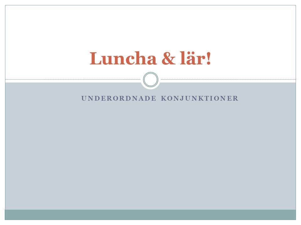 UNDERORDNADE KONJUNKTIONER Luncha & lär!