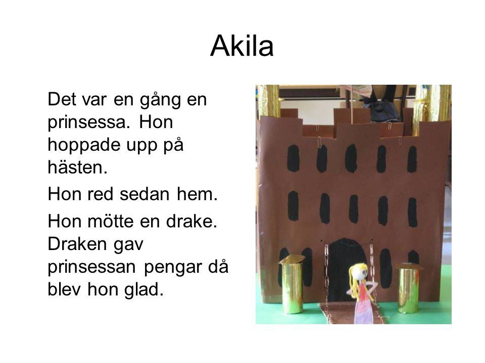 Akila Det var en gång en prinsessa. Hon hoppade upp på hästen. Hon red sedan hem. Hon mötte en drake. Draken gav prinsessan pengar då blev hon glad.