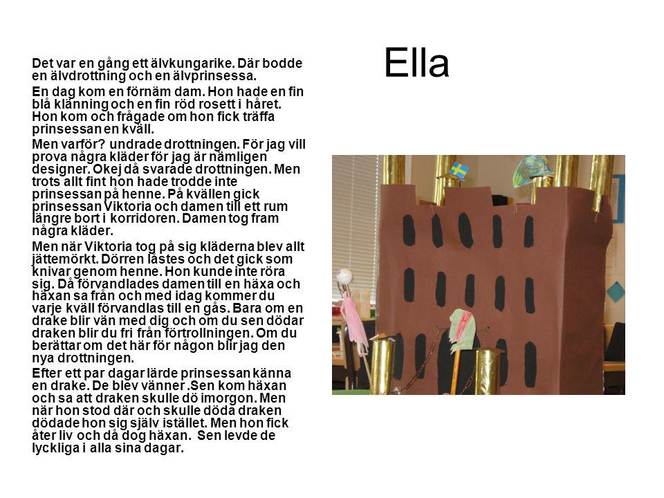 Ella Det var en gång ett älvkungarike. Där bodde en älvdrottning och en älvprinsessa. En dag kom en förnäm dam. Hon hade en fin blå klänning och en fi