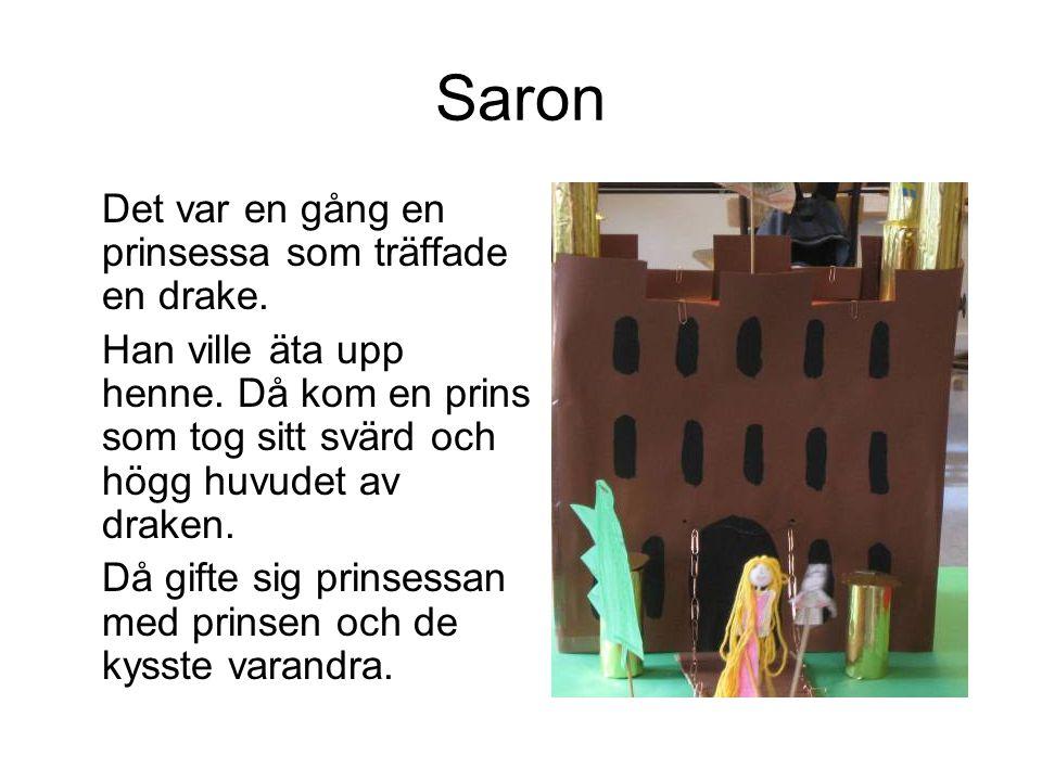 Saron Det var en gång en prinsessa som träffade en drake. Han ville äta upp henne. Då kom en prins som tog sitt svärd och högg huvudet av draken. Då g