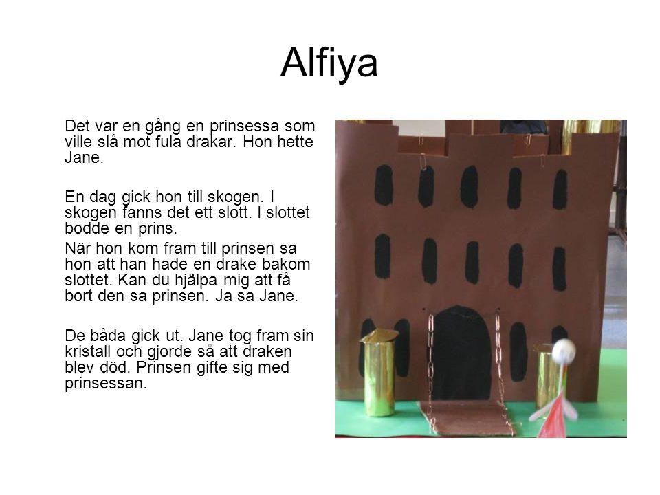 Alfiya Det var en gång en prinsessa som ville slå mot fula drakar. Hon hette Jane. En dag gick hon till skogen. I skogen fanns det ett slott. I slotte
