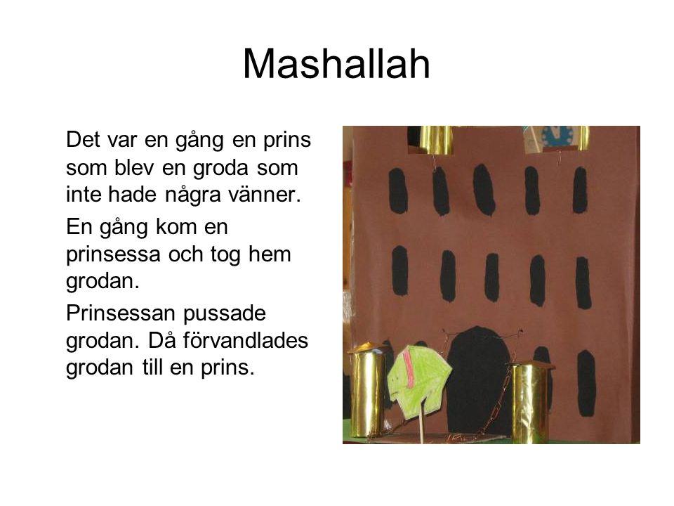 Mashallah Det var en gång en prins som blev en groda som inte hade några vänner. En gång kom en prinsessa och tog hem grodan. Prinsessan pussade groda