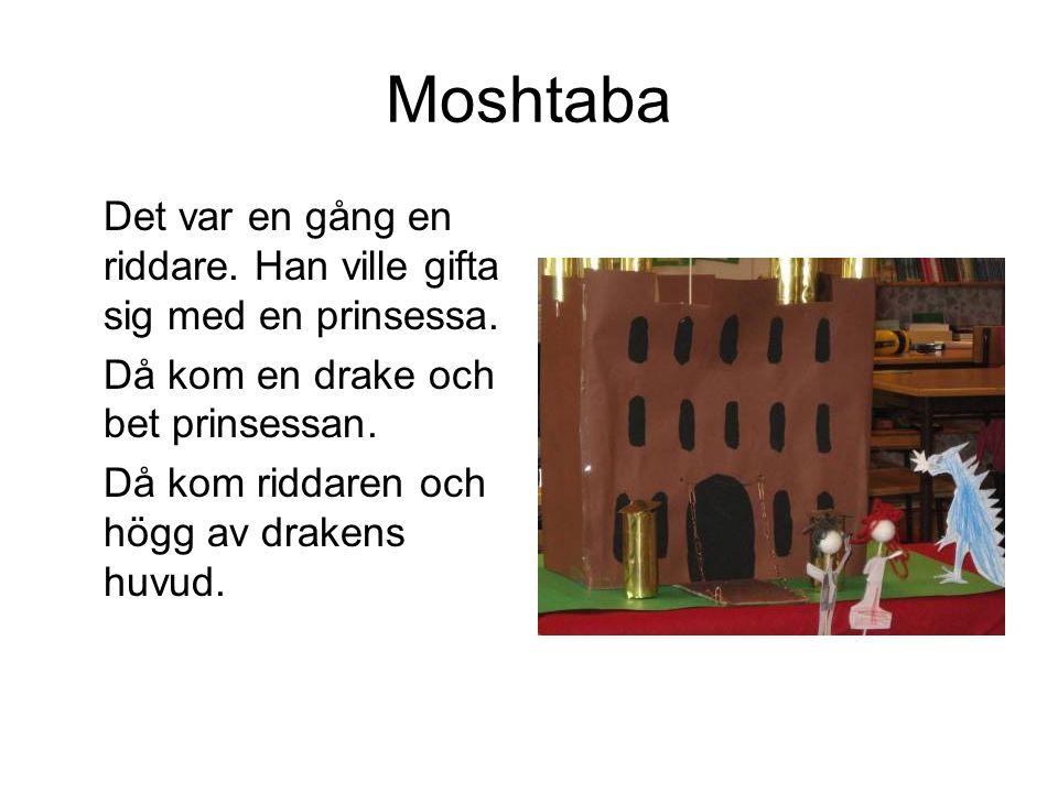 Moshtaba Det var en gång en riddare. Han ville gifta sig med en prinsessa. Då kom en drake och bet prinsessan. Då kom riddaren och högg av drakens huv
