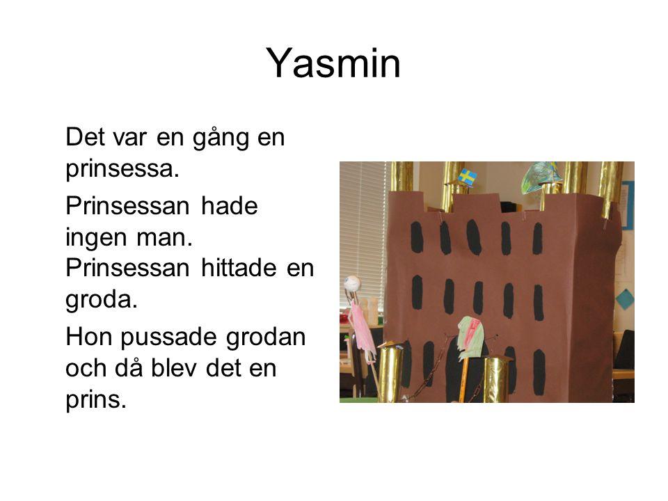 Yasmin Det var en gång en prinsessa. Prinsessan hade ingen man. Prinsessan hittade en groda. Hon pussade grodan och då blev det en prins.