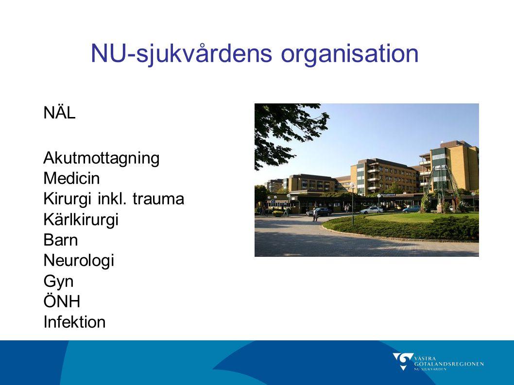 NU-sjukvårdens organisation Akutmottagning Medicin Kirurgi inkl. trauma Kärlkirurgi Barn Neurologi Gyn ÖNH Infektion NÄL