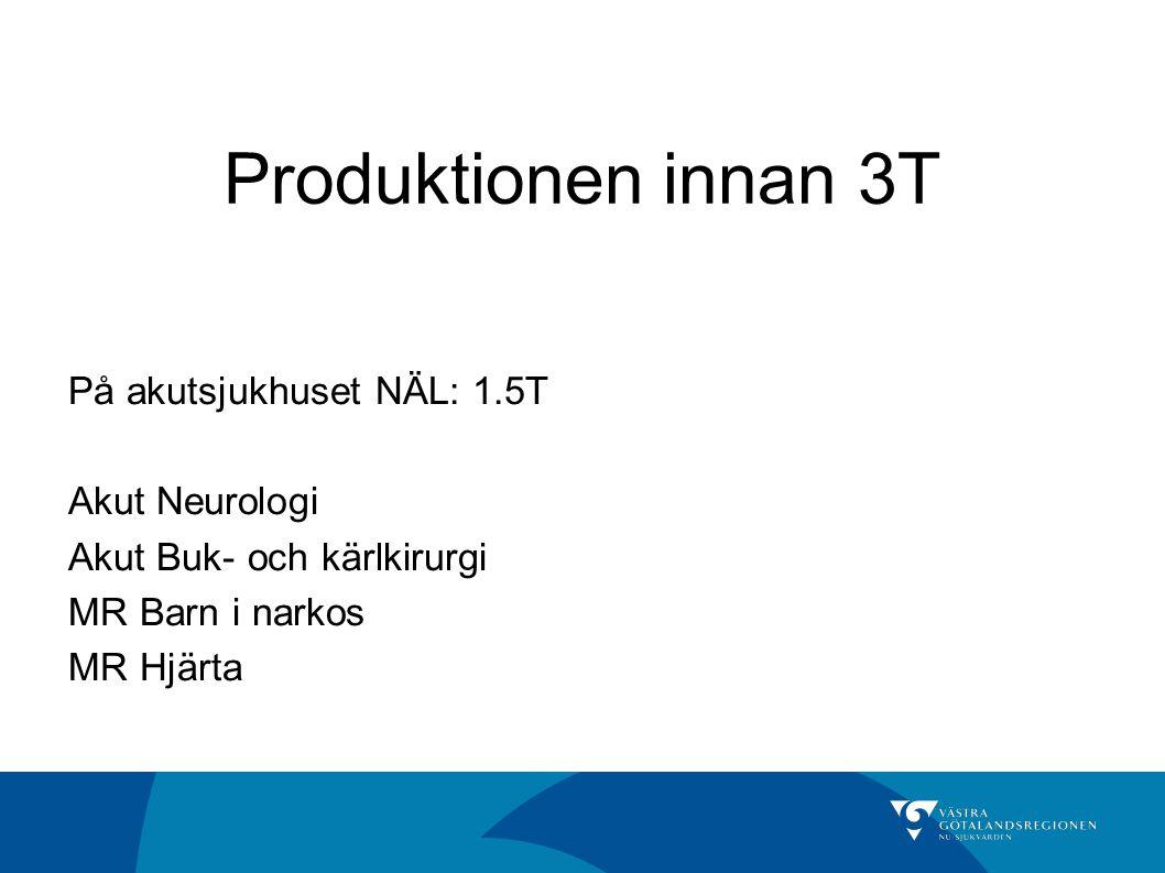 Produktionen innan 3T På akutsjukhuset NÄL: 1.5T Akut Neurologi Akut Buk- och kärlkirurgi MR Barn i narkos MR Hjärta
