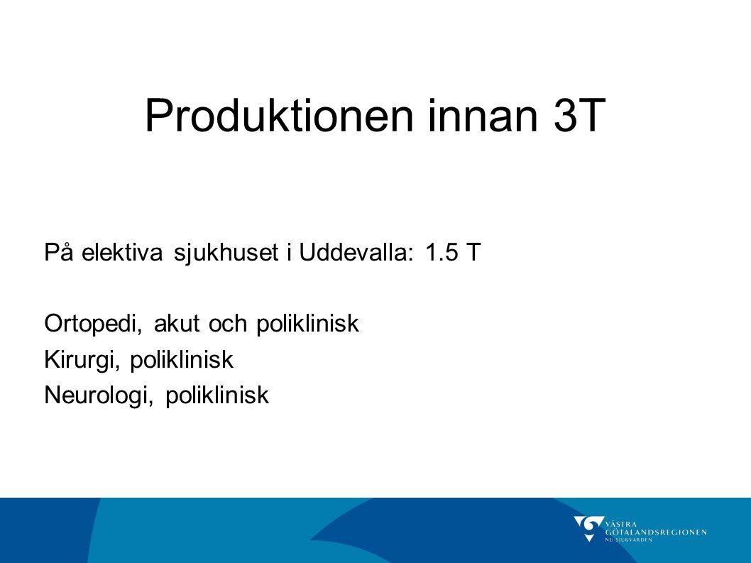 Produktionen innan 3T På elektiva sjukhuset i Uddevalla: 1.5 T Ortopedi, akut och poliklinisk Kirurgi, poliklinisk Neurologi, poliklinisk