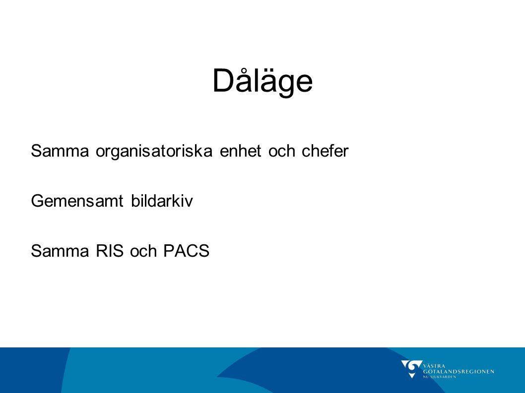 Dåläge Samma organisatoriska enhet och chefer Gemensamt bildarkiv Samma RIS och PACS