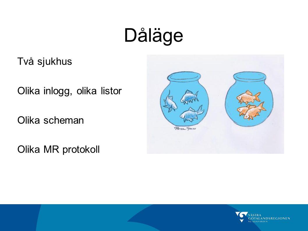 Dåläge Två sjukhus Olika inlogg, olika listor Olika scheman Olika MR protokoll