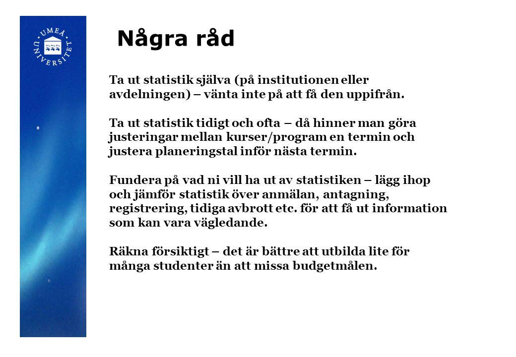 Några råd Ta ut statistik själva (på institutionen eller avdelningen) – vänta inte på att få den uppifrån.