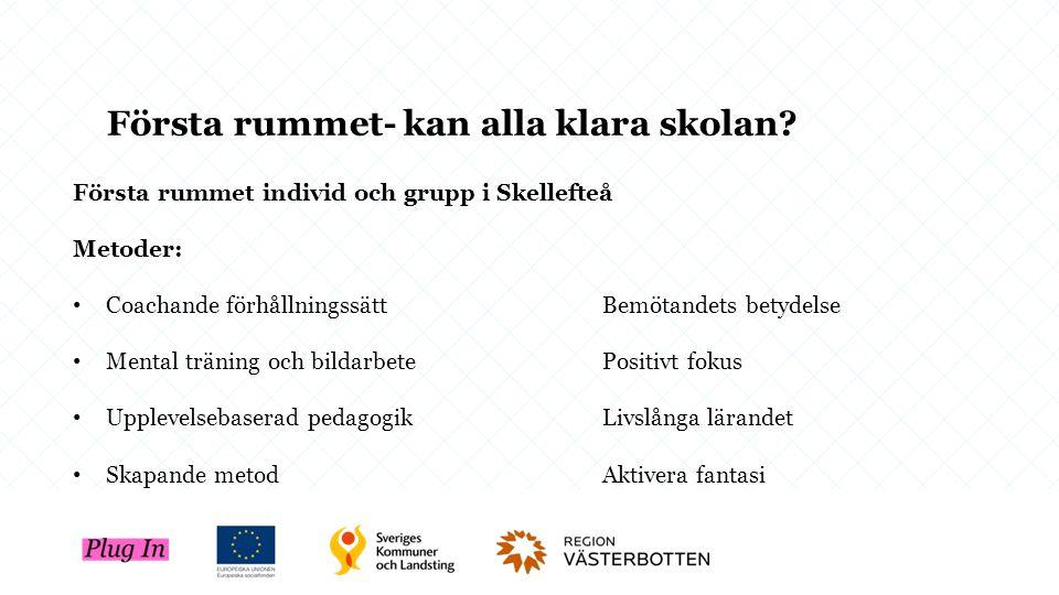 Första rummet individ och grupp i Skellefteå Metoder: Coachande förhållningssättBemötandets betydelse Mental träning och bildarbetePositivt fokus Uppl