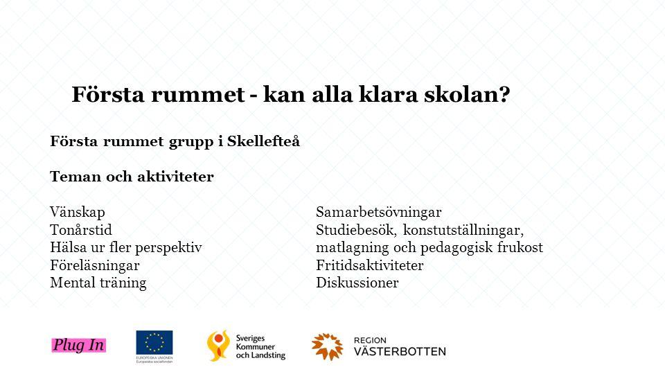 Första rummet grupp i Skellefteå Teman och aktiviteter VänskapSamarbetsövningar TonårstidStudiebesök, konstutställningar, Hälsa ur fler perspektivmatl