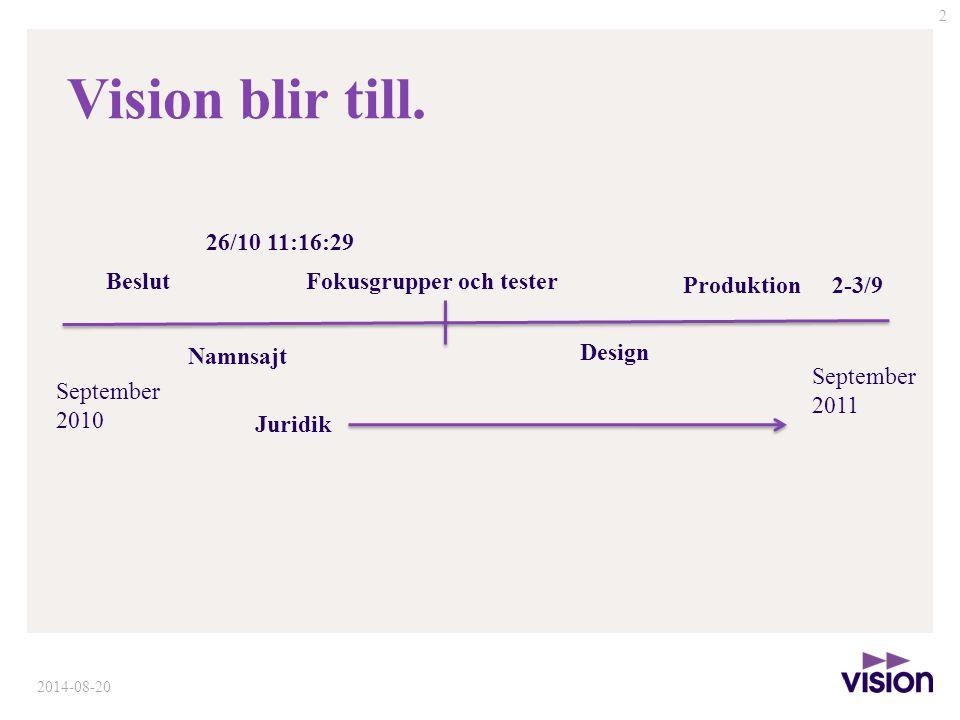 2 September 2010 September 2011 Beslut Namnsajt 26/10 11:16:29 Fokusgrupper och tester Design Produktion Juridik 2-3/9 Vision blir till.