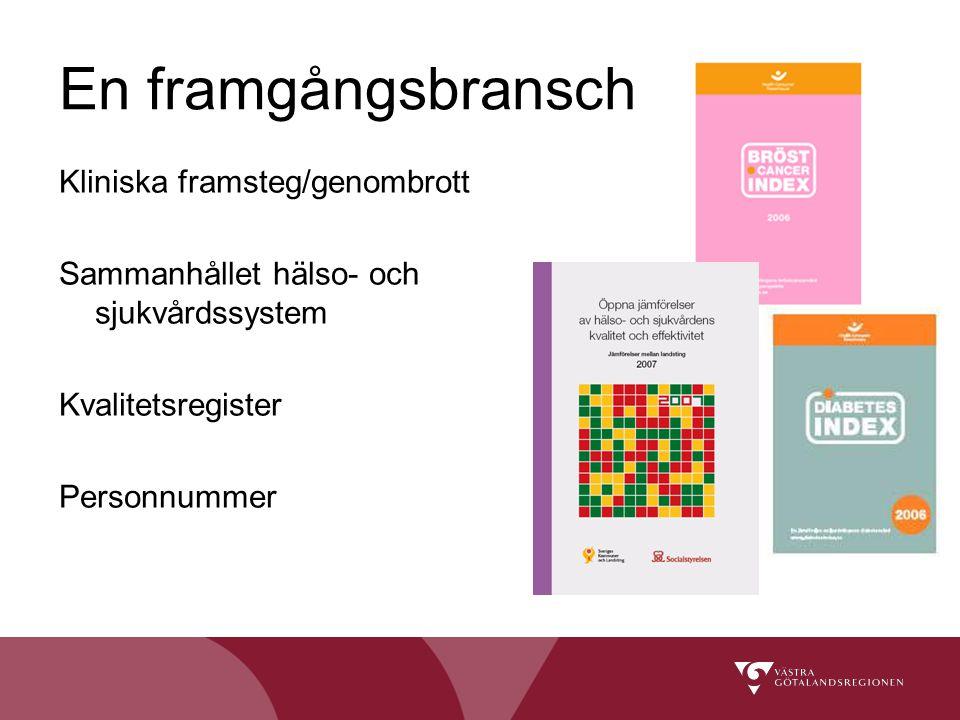 Kliniska framsteg/genombrott Sammanhållet hälso- och sjukvårdssystem Kvalitetsregister Personnummer En framgångsbransch