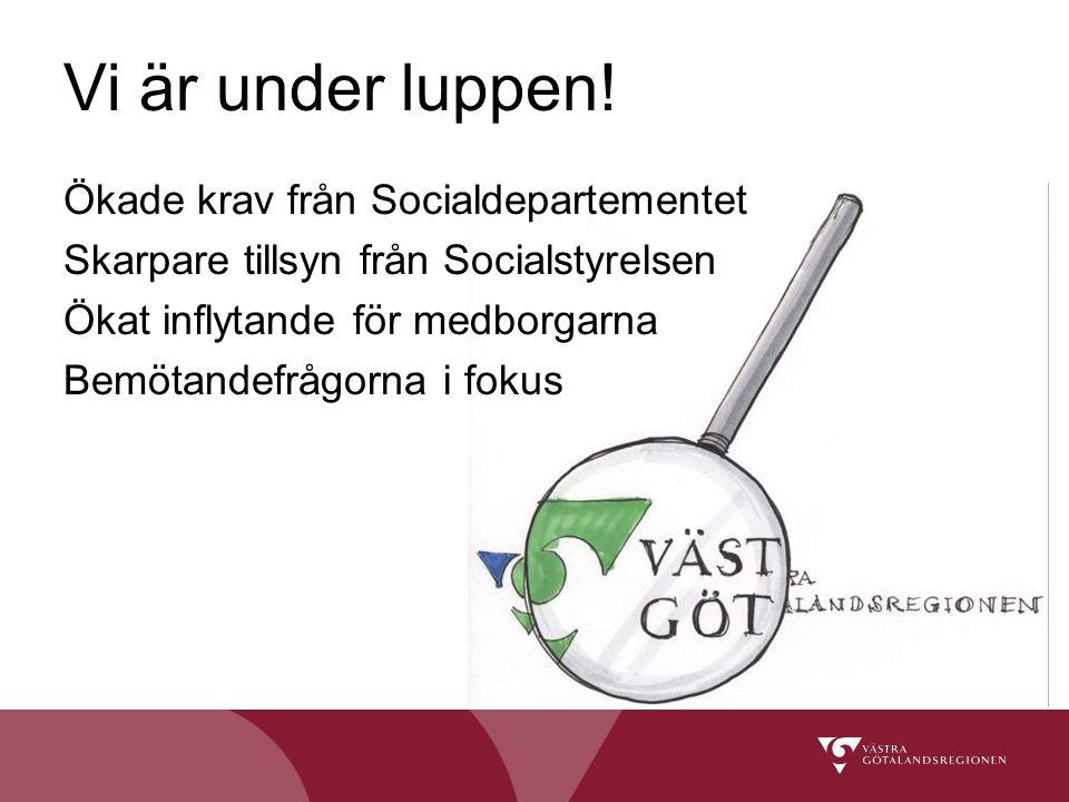 Ökade krav från Socialdepartementet Skarpare tillsyn från Socialstyrelsen Ökat inflytande för medborgarna Bemötandefrågorna i fokus Vi är under luppen!