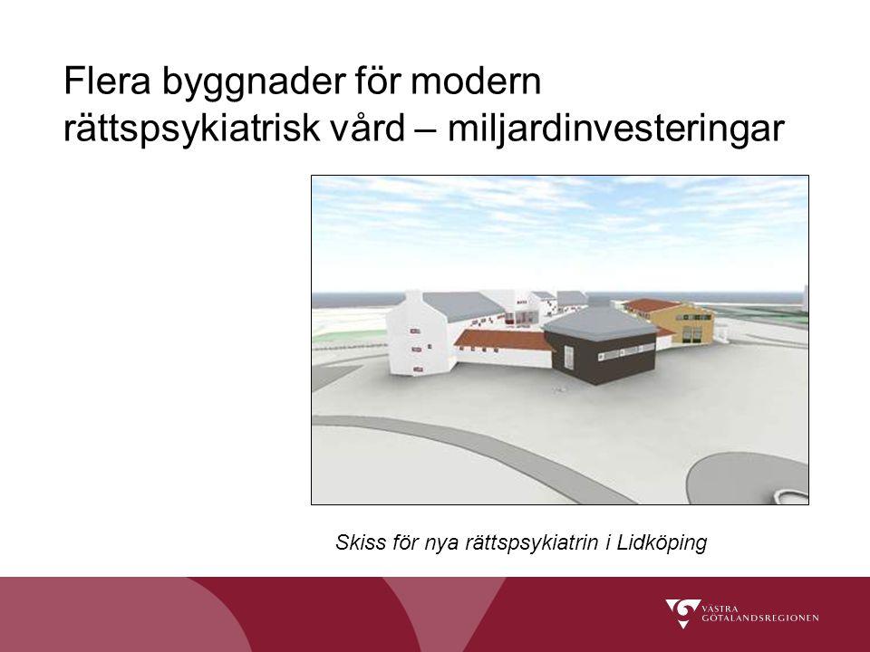 Flera byggnader för modern rättspsykiatrisk vård – miljardinvesteringar Skiss för nya rättspsykiatrin i Lidköping