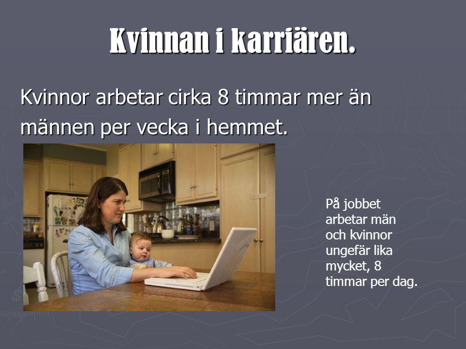 Kvinnan i karriären.Kvinnor arbetar cirka 8 timmar mer än männen per vecka i hemmet.