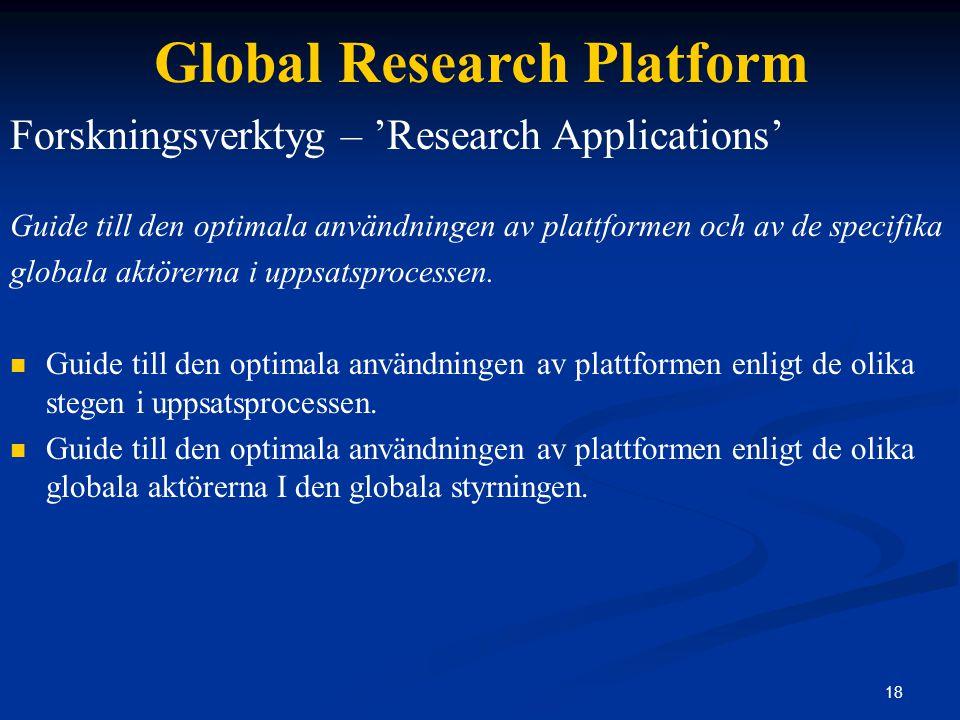 18 Global Research Platform Forskningsverktyg – 'Research Applications' Guide till den optimala användningen av plattformen och av de specifika globala aktörerna i uppsatsprocessen.
