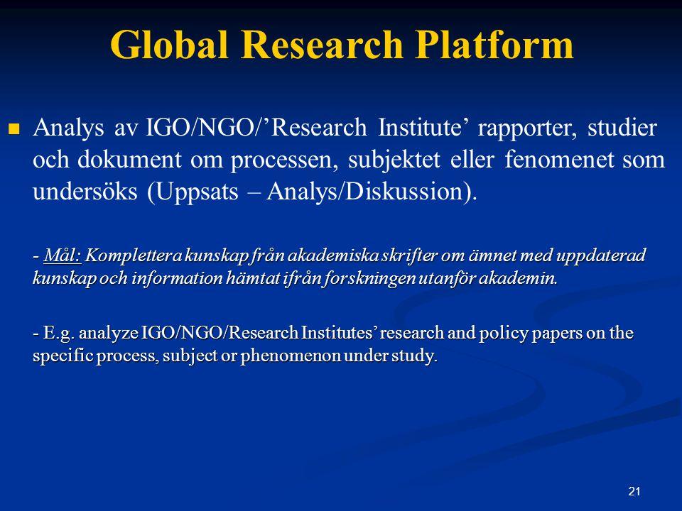 21 Global Research Platform Analys av IGO/NGO/'Research Institute' rapporter, studier och dokument om processen, subjektet eller fenomenet som undersöks (Uppsats – Analys/Diskussion).