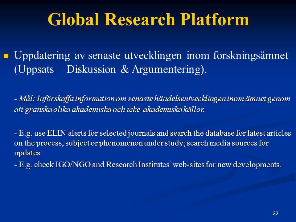 22 Global Research Platform Uppdatering av senaste utvecklingen inom forskningsämnet (Uppsats – Diskussion & Argumentering).