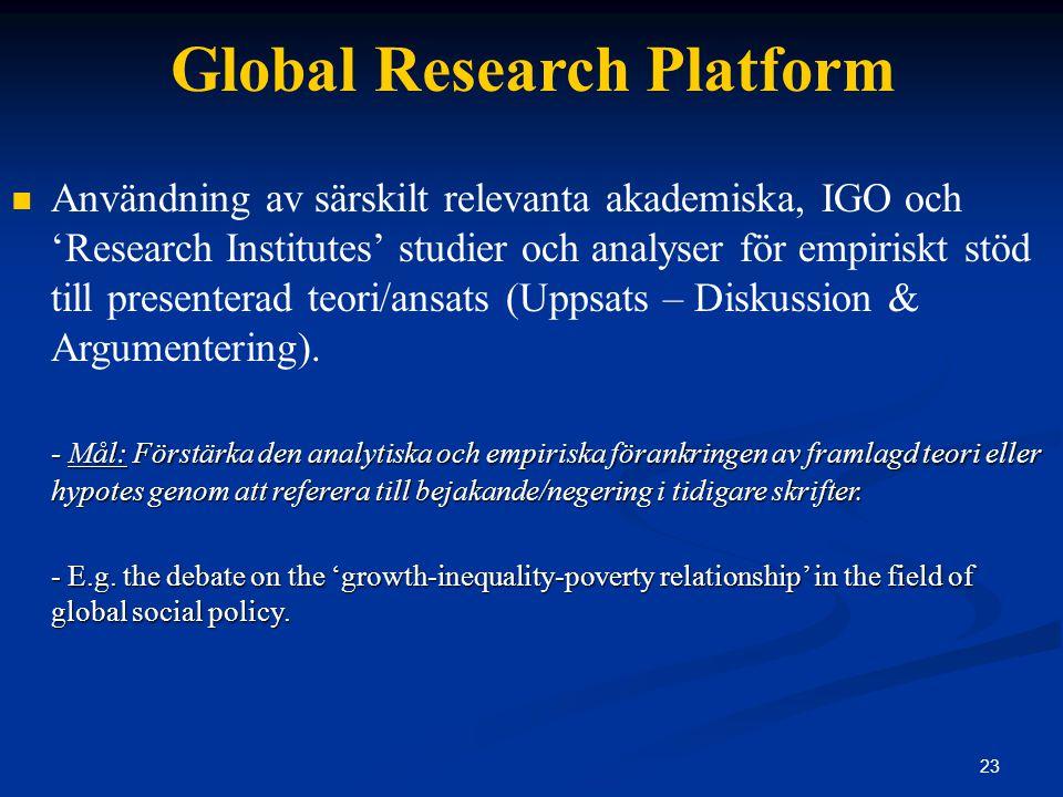 23 Global Research Platform Användning av särskilt relevanta akademiska, IGO och 'Research Institutes' studier och analyser för empiriskt stöd till presenterad teori/ansats (Uppsats – Diskussion & Argumentering).