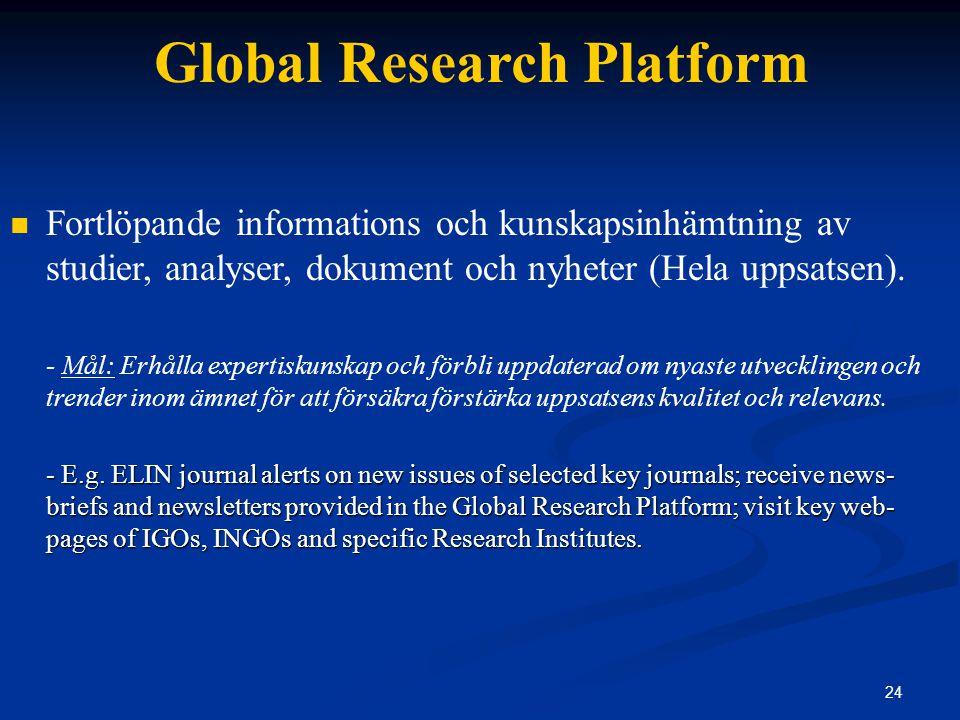 24 Global Research Platform Fortlöpande informations och kunskapsinhämtning av studier, analyser, dokument och nyheter (Hela uppsatsen).