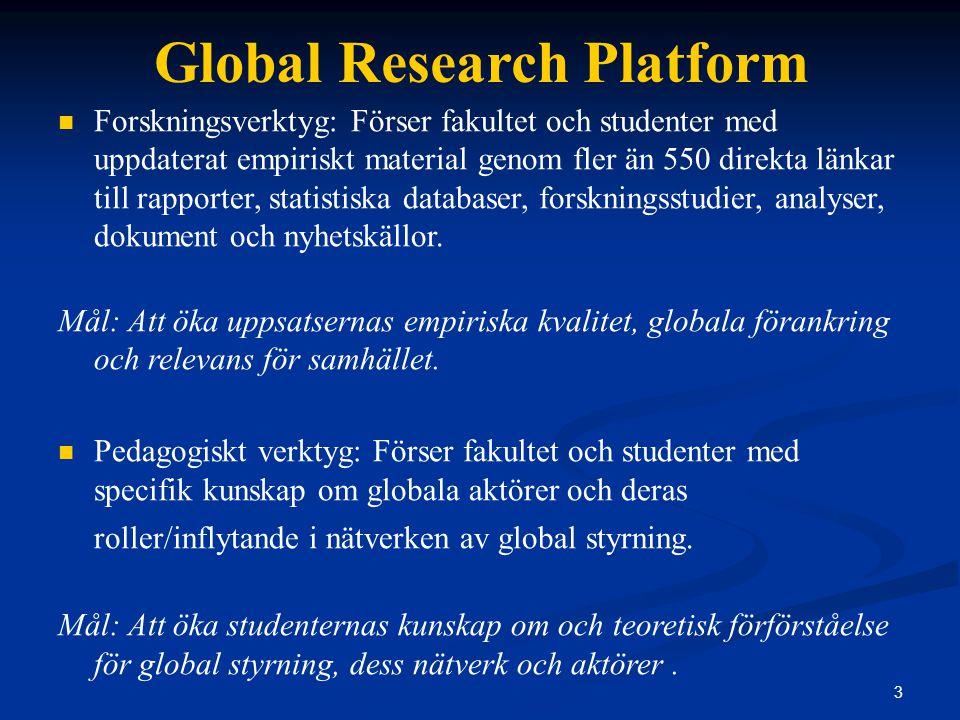 3 Global Research Platform Forskningsverktyg: Förser fakultet och studenter med uppdaterat empiriskt material genom fler än 550 direkta länkar till rapporter, statistiska databaser, forskningsstudier, analyser, dokument och nyhetskällor.