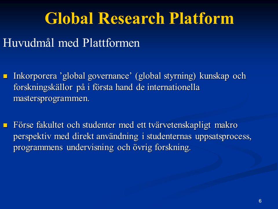 Global Research Platform Pedagogiskt Verktyg – Case Studies / Assignments Inkorporering av plattformen i studenternas assignments och uppsatser och i betygsättningen av desamma.
