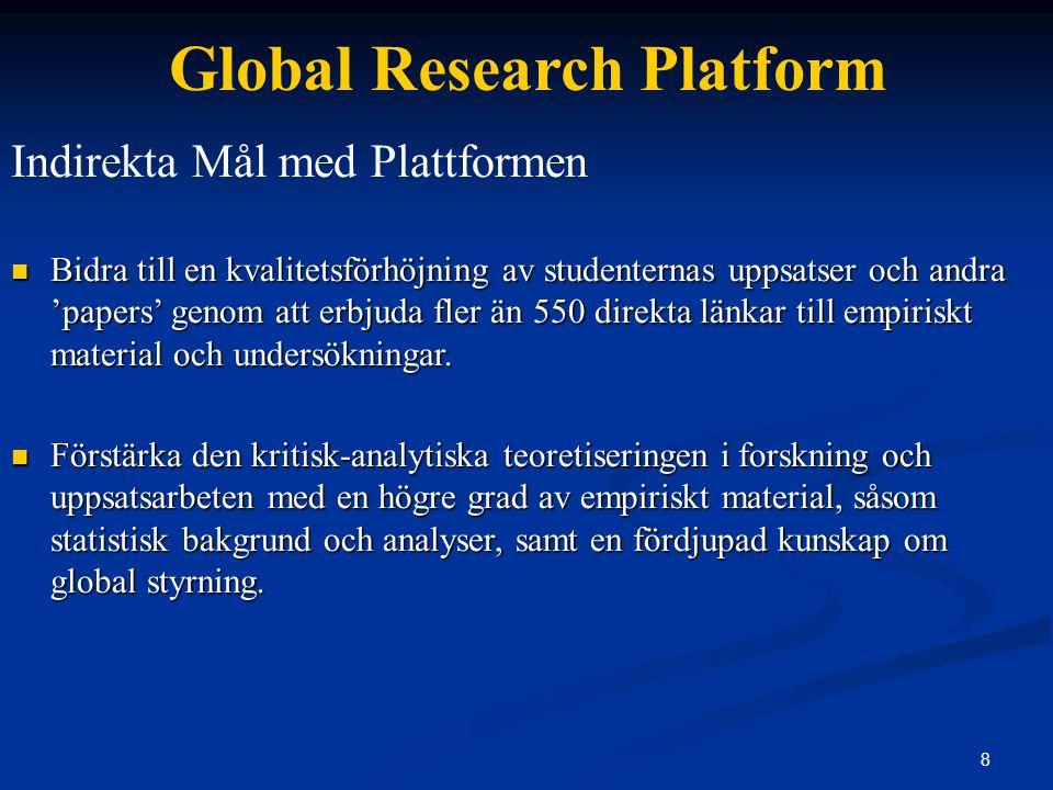 19 Global Research Platform Research Applications – Optimal Use of Platform Sample use Land/regionala profiler & statistisk bakgrundsinformation (Uppsats – Introduktion).