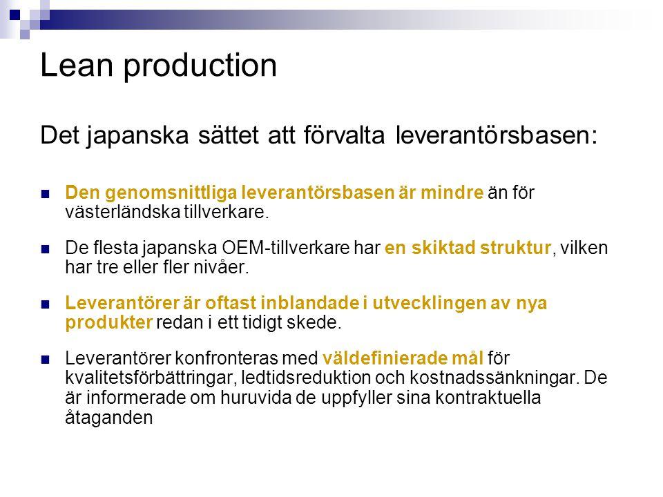 Lean production Det japanska sättet att förvalta leverantörsbasen: Den genomsnittliga leverantörsbasen är mindre än för västerländska tillverkare. De