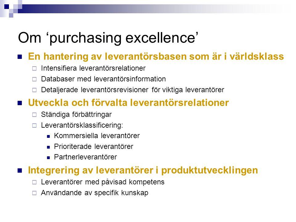 Om 'purchasing excellence' En hantering av leverantörsbasen som är i världsklass  Intensifiera leverantörsrelationer  Databaser med leverantörsinfor