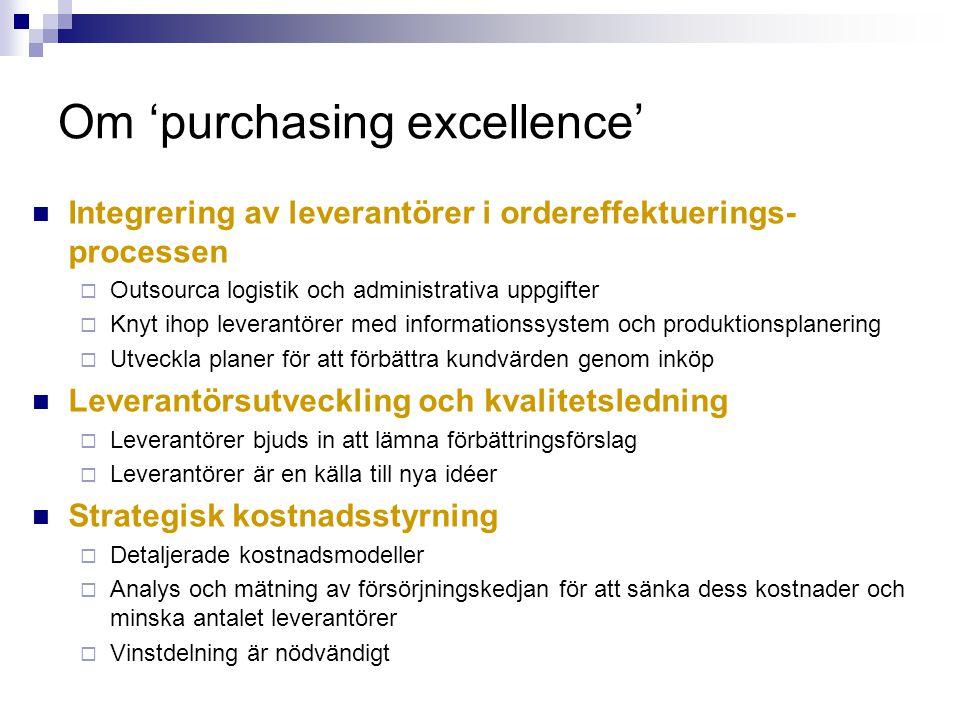 Om 'purchasing excellence' Integrering av leverantörer i ordereffektuerings- processen  Outsourca logistik och administrativa uppgifter  Knyt ihop l