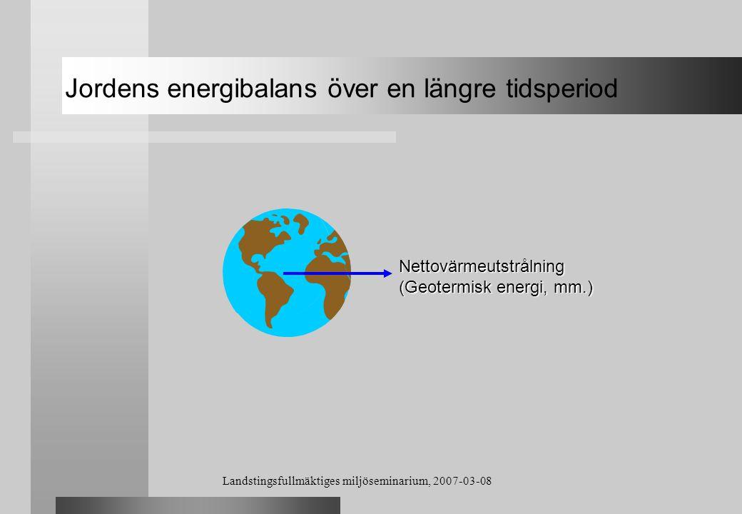 Landstingsfullmäktiges miljöseminarium, 2007-03-08 Nettovärmeutstrålning (Geotermisk energi, mm.) Jordens energibalans över en längre tidsperiod