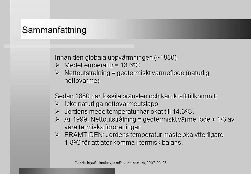 Landstingsfullmäktiges miljöseminarium, 2007-03-08 Sammanfattning Innan den globala uppvärmningen (~1880)  Medeltemperatur = 13.6 o C  Nettoutstråln