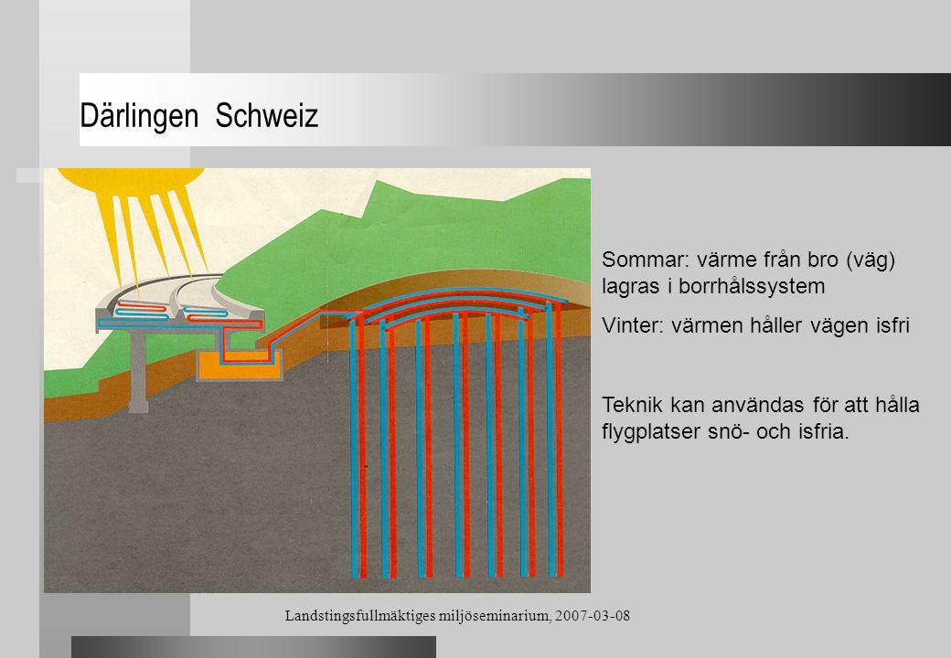 Landstingsfullmäktiges miljöseminarium, 2007-03-08 Därlingen Schweiz Sommar: värme från bro (väg) lagras i borrhålssystem Vinter: värmen håller vägen