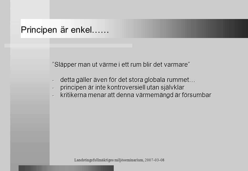 Landstingsfullmäktiges miljöseminarium, 2007-03-08 Global and Planetary Change Vol.