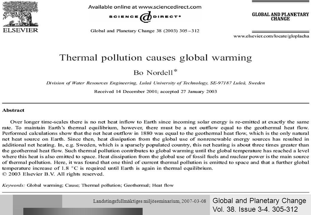 Landstingsfullmäktiges miljöseminarium, 2007-03-08 Naturliga energikällor för värme och kyla För ett storskaligt utnyttjande av förnyelsebar energi krävs att energin kan lagras tills den behövs (korttids- och långtidslagring).