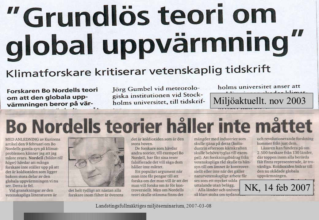 Landstingsfullmäktiges miljöseminarium, 2007-03-08 Jordens nettovärmekällor (utslaget över hela jordytan) Geotermiskt värmeflöde 0.068 W/m 2 Geotermiskt värmeflöde 0.068 W/m 2 Global energiförbrukning (fossilt + kärnkraft) 0.020 W/m 2 Global energiförbrukning (fossilt + kärnkraft) 0.020 W/m 2 All nettovärme0.088 W/m 2 Jorden var i jämvikt år 1880 Jorden var i jämvikt år 1880 - nettoutstrålning = 0.068 W/m 2 (geotermiskt värmeflöde) Jorden åter i jämvikt i framtiden då Jorden åter i jämvikt i framtiden då - nettoutstrålning = 0.088 W/m 2 (all nettovärme) Termisk förorening Naturlig värme