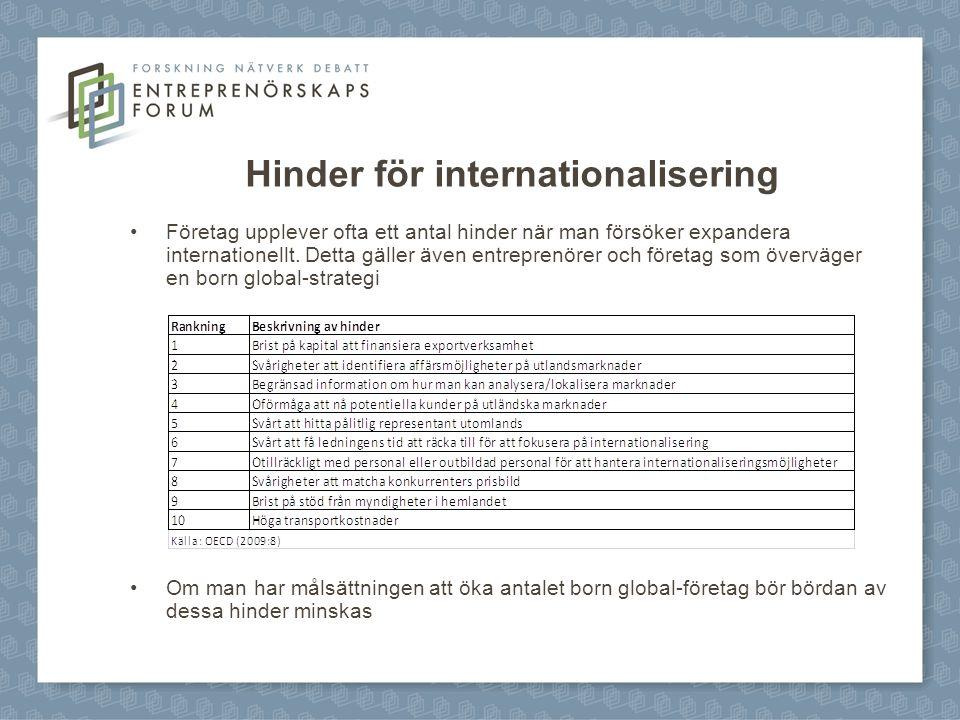 Hinder för internationalisering Företag upplever ofta ett antal hinder när man försöker expandera internationellt. Detta gäller även entreprenörer och