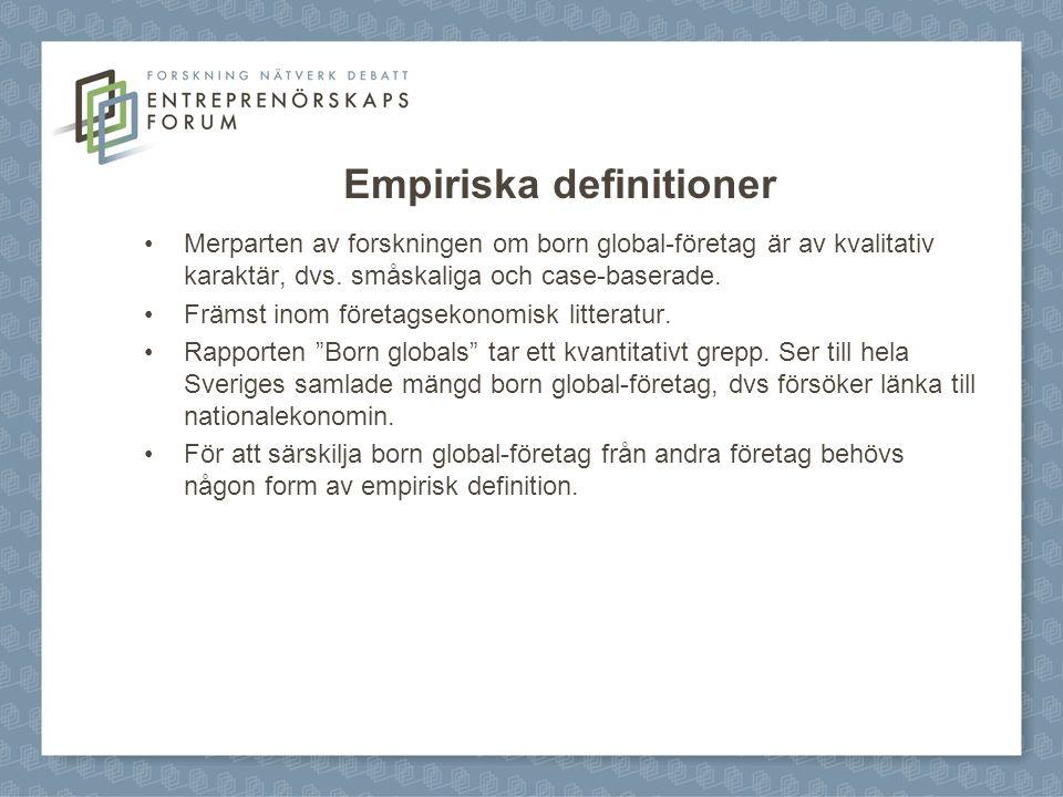 Empiriska definitioner Merparten av forskningen om born global-företag är av kvalitativ karaktär, dvs. småskaliga och case-baserade. Främst inom föret