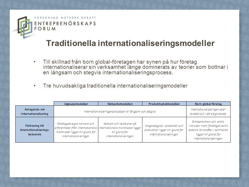 Traditionella internationaliseringsmodeller Till skillnad från born global-företagen har synen på hur företag internationaliserar sin verksamhet länge