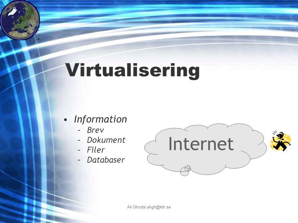 Ali Ghodsi aligh@kth.se Virtualisering Internet Information –Brev –Dokument –Filer –Databaser