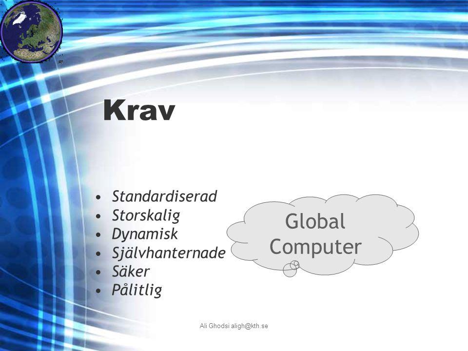 Ali Ghodsi aligh@kth.se Krav Global Computer Standardiserad Storskalig Dynamisk Självhanternade Säker Pålitlig