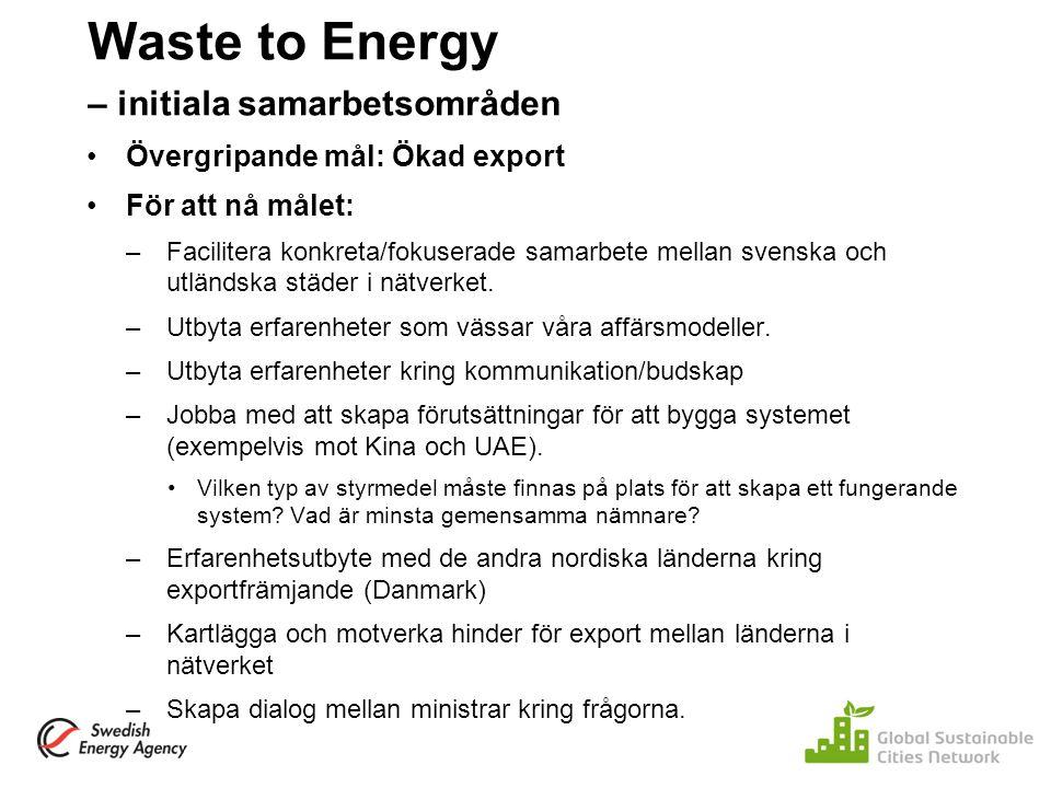 Waste to Energy – initiala samarbetsområden Övergripande mål: Ökad export För att nå målet: –Facilitera konkreta/fokuserade samarbete mellan svenska o