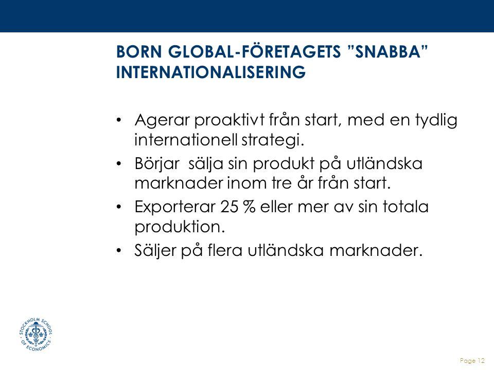 """BORN GLOBAL-FÖRETAGETS """"SNABBA"""" INTERNATIONALISERING Agerar proaktivt från start, med en tydlig internationell strategi. Börjar sälja sin produkt på u"""