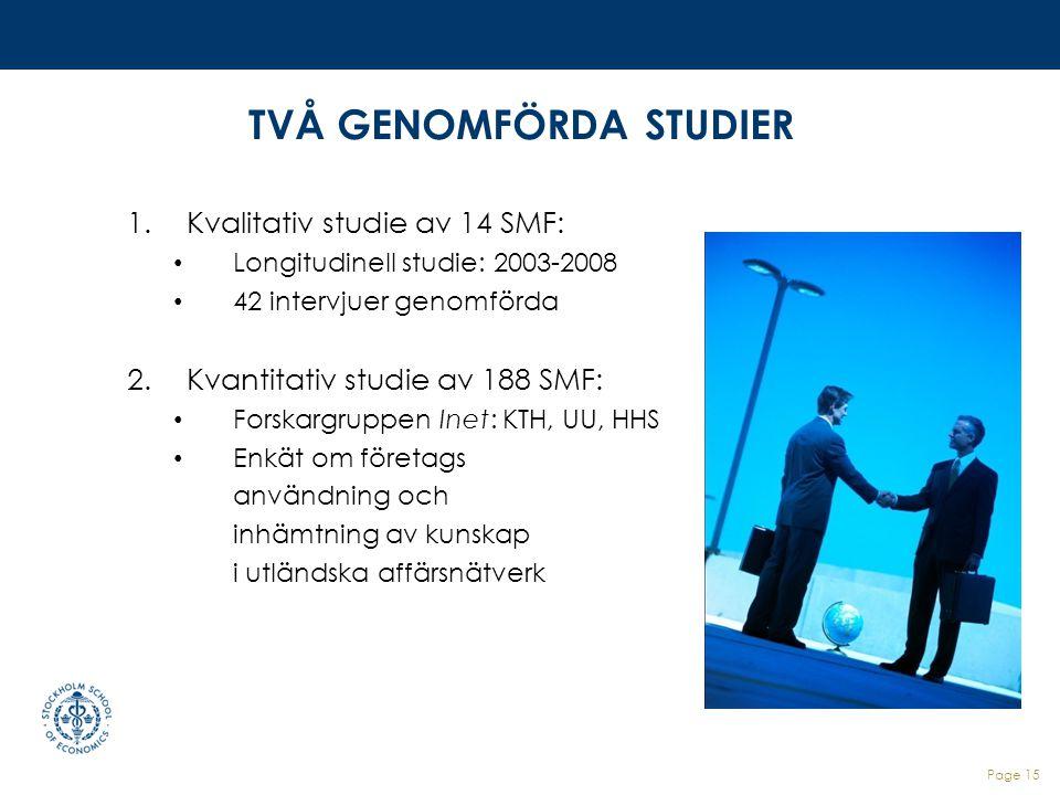 Page 15 TVÅ GENOMFÖRDA STUDIER 1.Kvalitativ studie av 14 SMF: Longitudinell studie: 2003-2008 42 intervjuer genomförda 2.Kvantitativ studie av 188 SMF